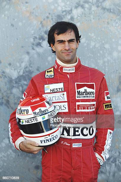Emanuele Pirro of Italy driver of the Scuderia Italia BMS Dallara 191 Judd V10 poses for a portrait during pre season testing on 1 February 1991 at...