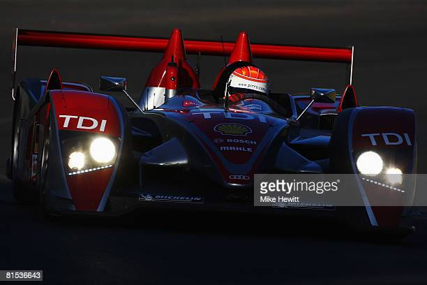 Emanuele Pirro of Italy drives the Audi North America R10 during qualifying for the 76th running of the Le Mans 24 Hour race at the Circuit des 24...