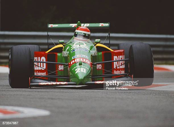 Emanuele Pirro of Italy drives the Benetton Formula Ltd Benetton B189 Cosworth V8 during practice for the Belgian Grand Prix on 26 August 1989 at the...