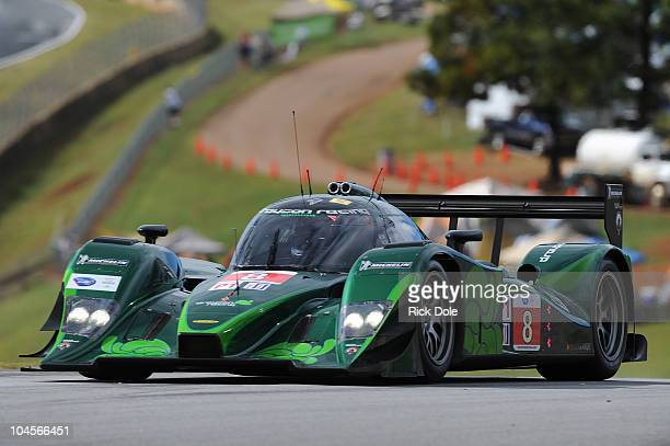 Emanuele Pirro of Italy drives the Drayson Racing Lola Judd during practice for the American Le Mans Series Petit Le Mans at Road Atlanta on...