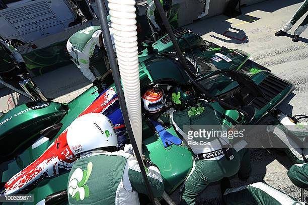 Emanuele Pirro of Italy sits in the cockpit of the Drayson Racing Lola during the American Le Mans Series Monterey at Mazda Raceway Laguna Seca on...