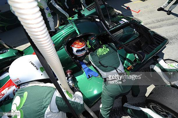 Emanuele Pirro of Italy sits in the cockpit of the Drayson Racing Lola Judd during the American Le Mans Series Monterey at Mazda Raceway Laguna Seca...