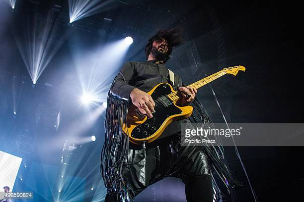 Emanuele Spedicato of the Italian rock band Negramaro pictured on stage as he performs live at Unipol Arena Bologna.