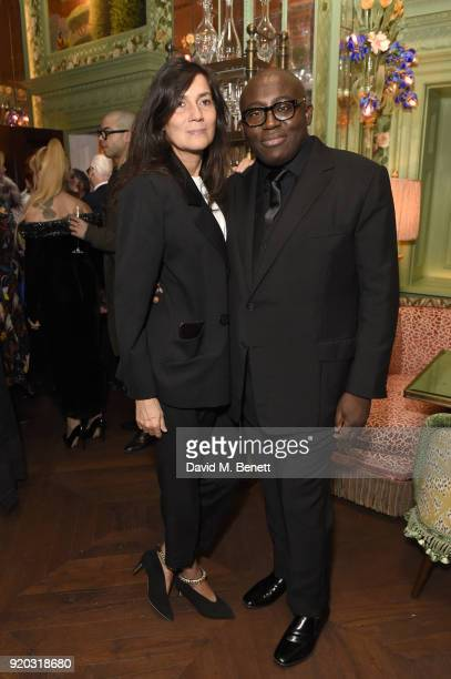 Emanuelle Alt and Edward Enninful attend as Tiffany Co partners with British Vogue Edward Enninful Steve McQueen Kate Moss and Naomi Campbell to...
