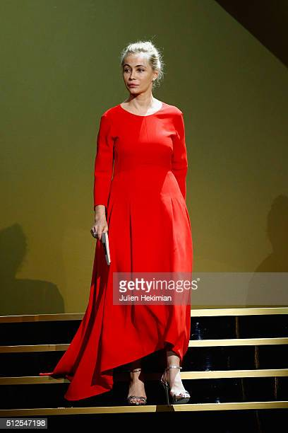 Emanuelle Beart arrives on stage during The Cesar Film Award 2016 at Theatre du Chatelet on February 26 2016 in Paris France