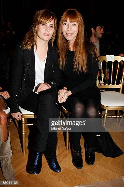 Emanuelle Seigner and Victoire de Castelane attend the Balmain PFW Spring Summer 2009 show at Paris Fashion Week 2008 at Hotel Westin on September 28...