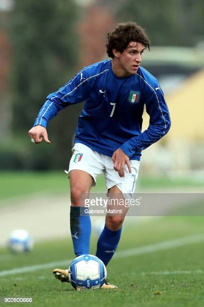 Emanule Matteucci of Italy in action during the at Coverciano 'Torneo Dei Gironi' Italian Football Federation U18 Tournament on January 8 2018 in...