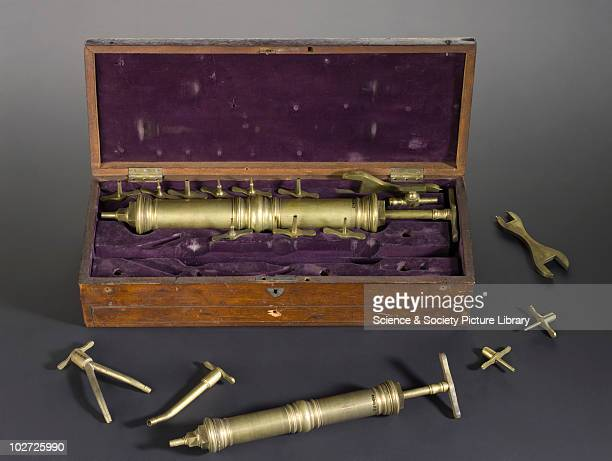 Embalming syringe set by Laundy London England 17901845 Embalming syringe set by Laundy London England 17901845 One syringe and attatchents outside...
