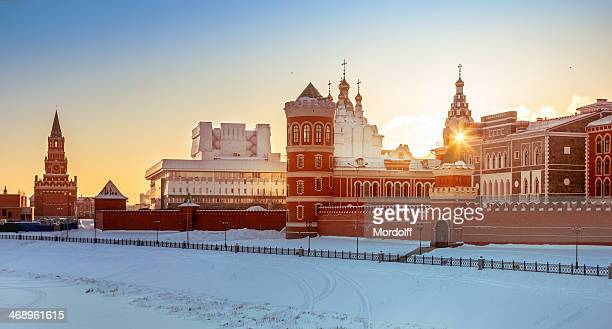 Embankment of Yoshkar-Ola city at frosty day, Russia