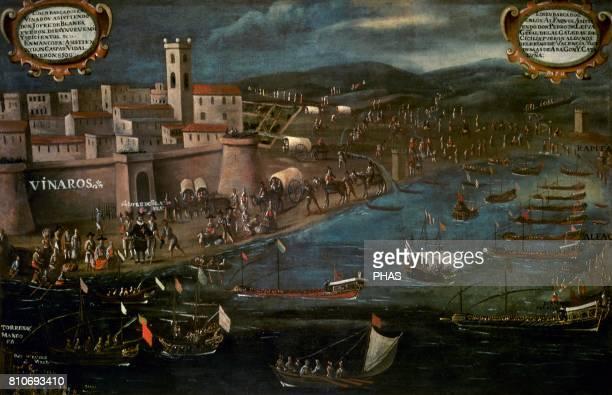Embarco de Moriscos en el Grao de Vinaroz . Painting by Pere Oromig and Francisco Peralta. Oil on canvas. It belongs tot the series 'La expulsiãn de...