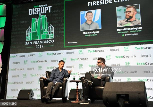 Embark CEO Alex Rodrigues and TechCrunch moderator Darrell Etherington speak onstage during TechCrunch Disrupt SF 2017 at Pier 48 on September 20...