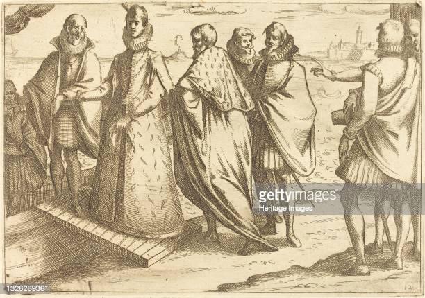 Embarkation at Genoa, 1612. Artist Jacques Callot.