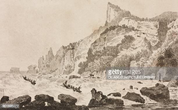 Embarkation at Pitcairn Island Polynesia engraving by Danvin and Ales from Oceanie ou Cinquieme partie du Monde Revue Geographique et Ethnographique...