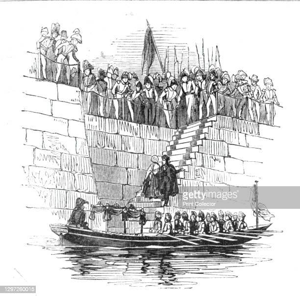 Embarkation of Her Majesty, 1842. Queen Victoria descending steps to the Admiralty barge before boarding the Royal George, River Thames, London. From...