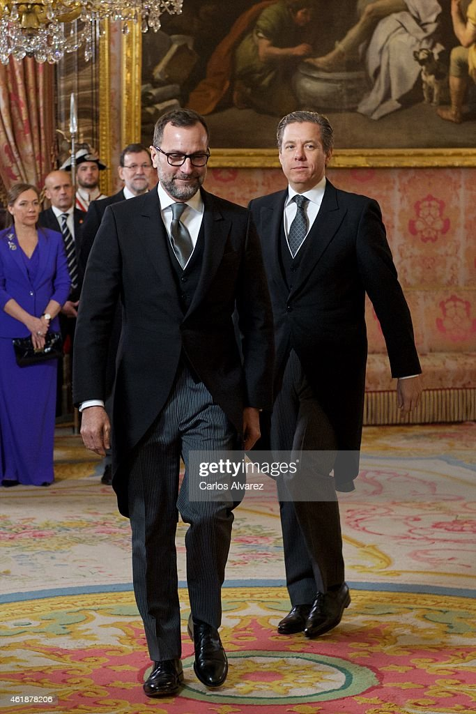 USA embassador James Costos (L) and husband Michael Smith (R) during the annual Foreign Ambassadors reception at the Royal Palace on January 21, 2015 in Madrid, Spain.
