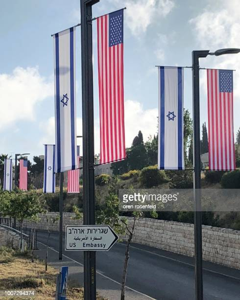 u.s embassy jerusalem - israel flag stock pictures, royalty-free photos & images