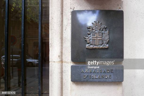 embassy of iceland in paris - coat of arms stock pictures, royalty-free photos & images