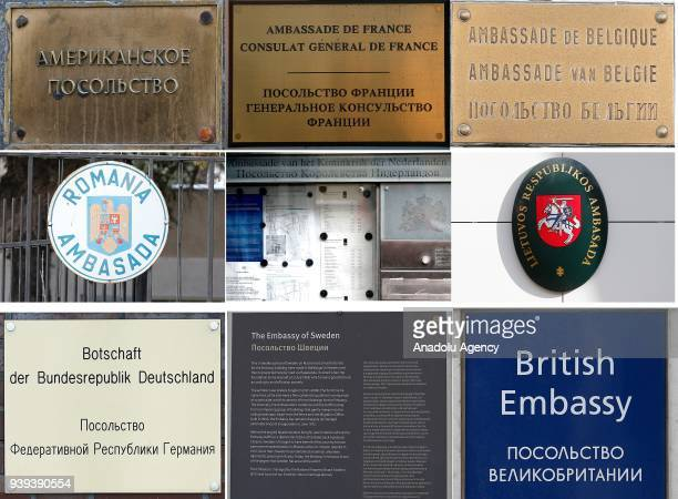 Embassy of US France Belgium Romania Netherlands Lithuania German Sweden and British are seen in Moscow Russia on March 28 2018 The countries that...