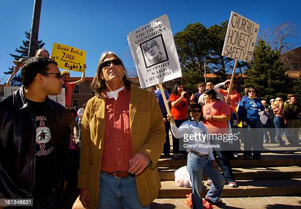 BOULDER COLORADOMARCH 3 2005 Embattled University of Colorado Ethnic Studies professor Ward Churchill <cq> right stands with supporters after...