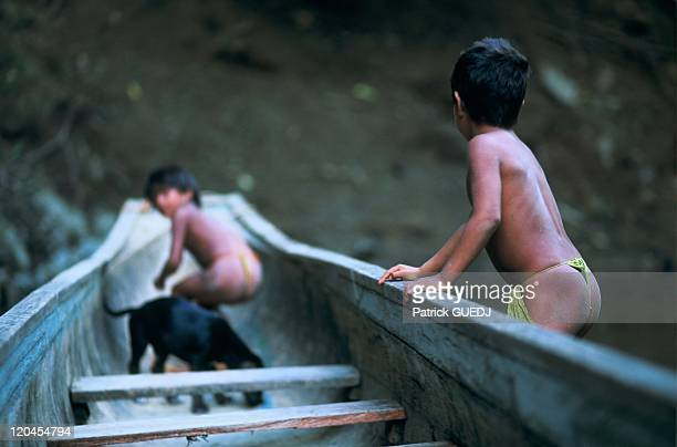 Embera Little Boy On His Canoe Charges National Park In Panama