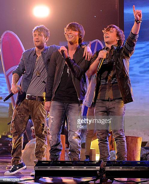 Emblem 3 performs on FOX's 'The X Factor' Season 3 Top 6 To 4 Live Elimination Show on December 5 2013 in Hollywood California