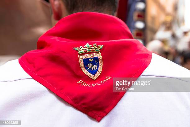 emblem at fiesta in pamplona - pamplona stock pictures, royalty-free photos & images