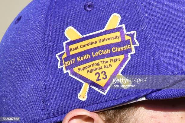 Emblem for 14th annual Keith LeClair Classic on an ECU hat before a game between the St Johns Red Storm and the East Carolina Pirates during the...