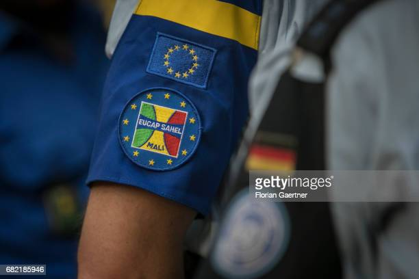 April 07: Emblem of EUCAP SAHEL on the arm of a security force on April 07, 2017 in Bamako, Mali.