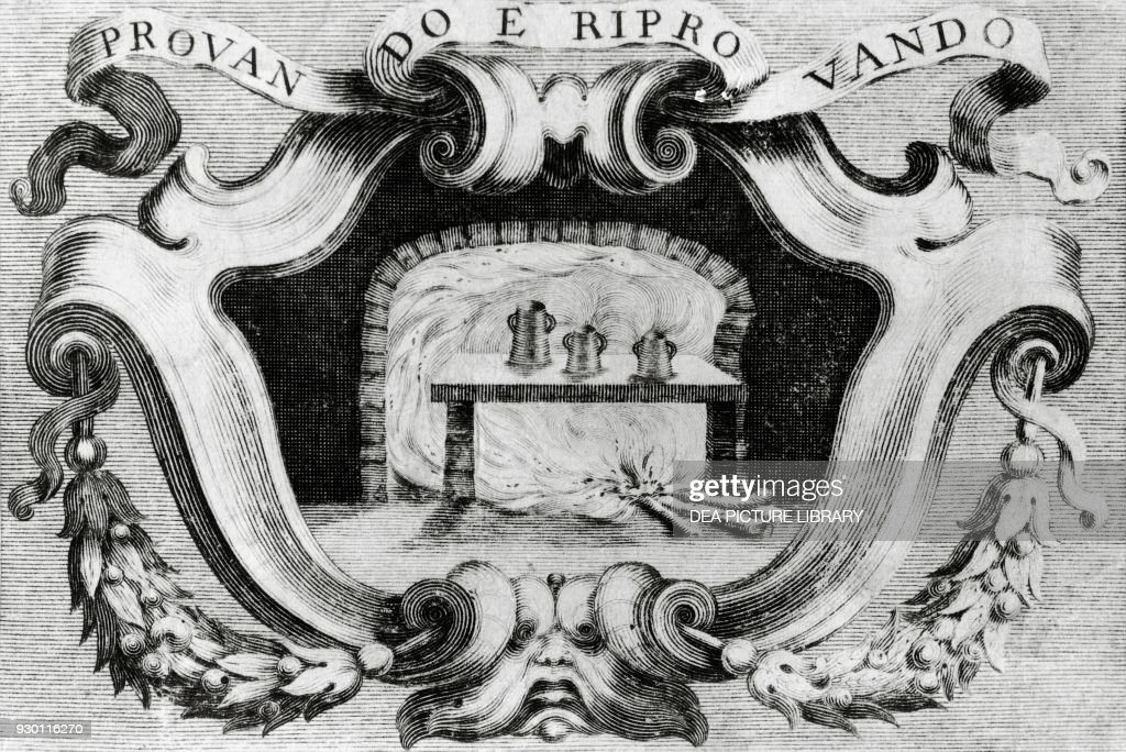 Emblem of the Accademia del Cimento, detail of the illustrated ...