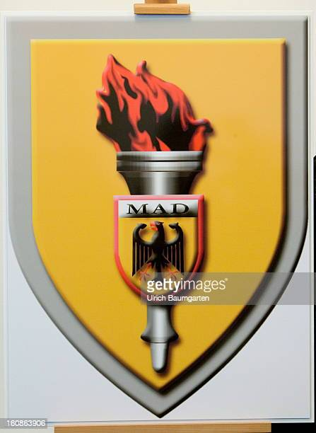 Emblem of the German Military CounterIntelligence Service on February 6 2013 in Cologne Germany Defense Minister Thomas de Maiziere has rejected...