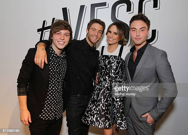 Emblem3 and Keltie Knight The Insider pose onstage after their panel 'How Social Is ChangingThe Business of Music' during the 2016 Vanity Fair Social...