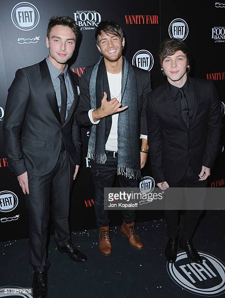 Emblem3 arrives at Vanity Fair And FIAT Toast To 'Young Hollywood' at Chateau Marmont on February 23 2016 in Los Angeles California