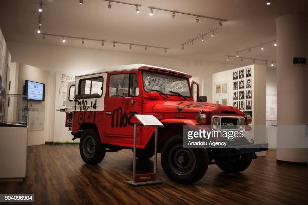 Emblematic Jeep of the La Rochela massacre displayed at the exhibition of 'History of the Violence in the Country' in Bogota Colombia on January 12...