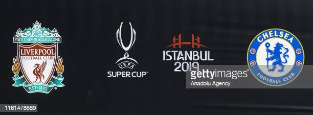 Emblems of Liverpool Chelsea and UEFA Super Cup are seen around the Vodafone Park ahead of the UEFA Super Cup soccer match between Liverpool and...