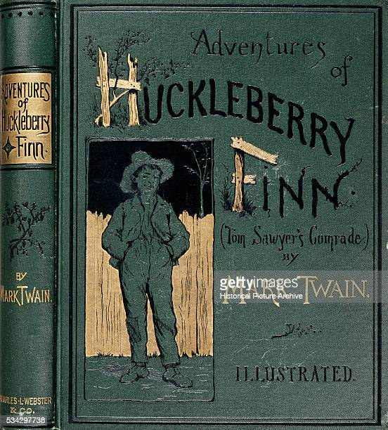 A embossed book cover for Adventures of Huckleberry Finn showing Huck friend of Tom Sawyer