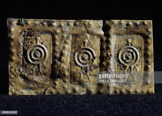 Embossed copper sheet depicting soldiers with large shields found in St James's Church Vicenza Veneto Italy Paleoveneti civilisation 4th3rd century BC