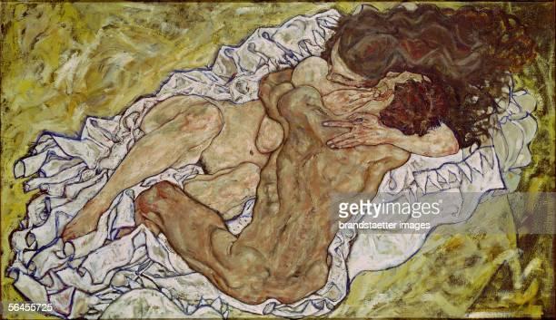 Embrace P304 Oil on Canvas by Egon Schiele Austria 1917 [Umarmung P304 oel/Lw oesterreich 1917]