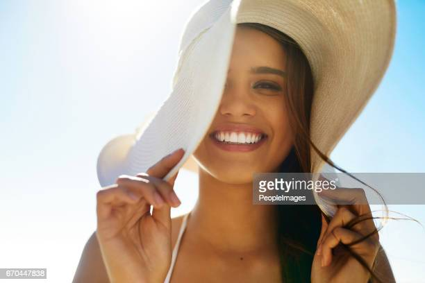 embrace summer style - sun hat stock pictures, royalty-free photos & images