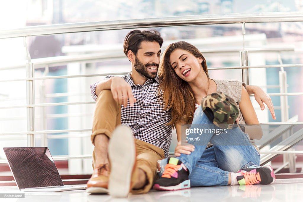 Embraced couple communicating. : Stock Photo