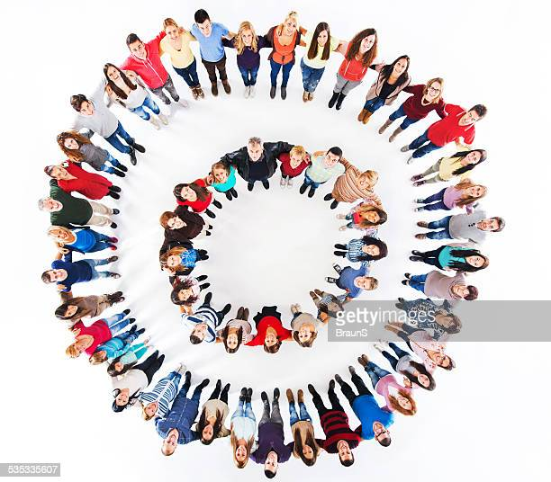 Embraced group of people in a circle.