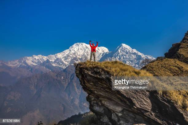 embracing beauty of annapurna ranges, nepal. - annapurna south stock photos and pictures