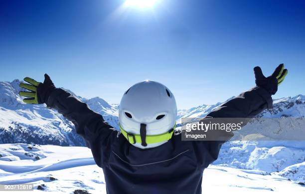 embracing nature in austria - ski holiday stock photos and pictures
