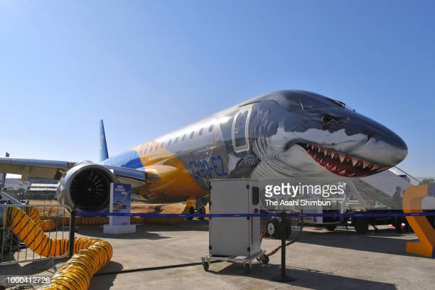 Embraer's E190 E2 is seen during the Farnborough International Airshow on July 16 2018 in Farnborough England