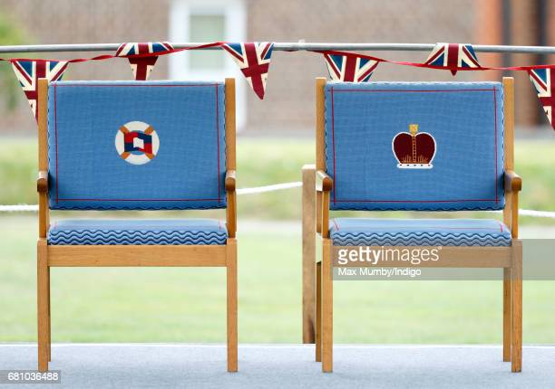 Embroidered chairs with for Prince Philip, Duke of Edinburgh and Queen Elizabeth II as they visit Pangbourne College to celebrate it's centenary on...