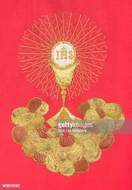 Embroidered cloth placed on the altar designed by Leopoldo Pollack presbytery of the Collegiate church of St Stephen Vimercate Lombardy Italy...