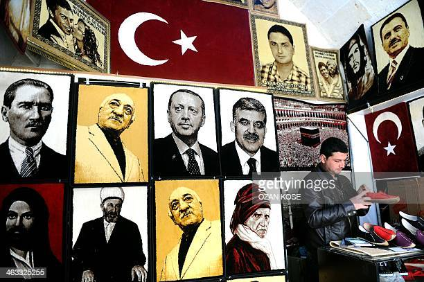 Embroidered images of the founder of modern Turkey Mustafa Kemal Ataturk United Statesbased Turkish cleric Fethullah Gulen Turkey's Prime Minister...