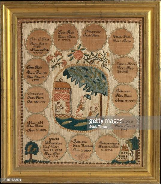 Embroidered sampler Made in Hatfield, Massachusetts, United States, American, Silk on linen, 18 x 15 3/4 in. , Textiles, Embroidered by Julia Ann...