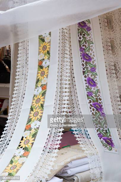embroidered table runners for sale, dubrovnik, croatia - lace textile stock pictures, royalty-free photos & images