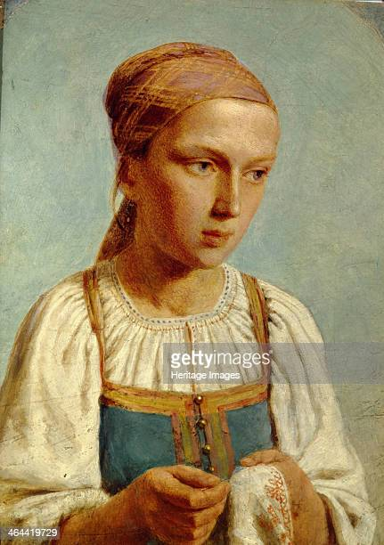 Embroidery Country Girl 1843 Found in the collection of the State Tretyakov Gallery Moscow