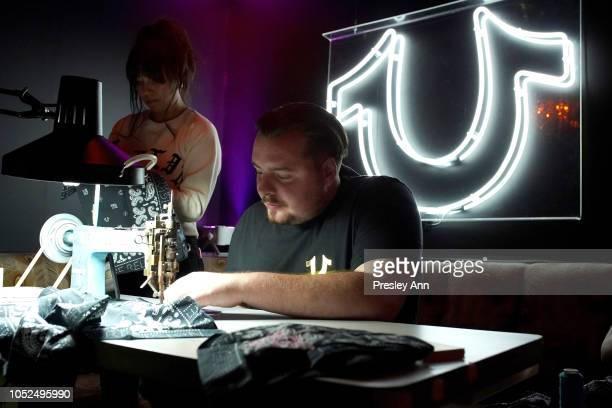 Embroidery is done at Bella Hadid x True Religion Event Campaign Party at Poppy on October 18 2018 in Los Angeles California